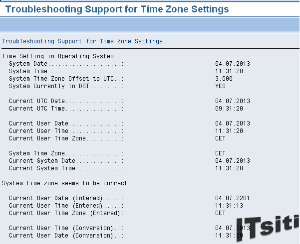 Inconsistency in time zone settings for client xx and xx found