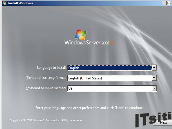 MS Server 2008 R2 Installation - Language