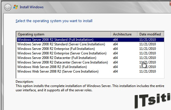 MS Server 2008 R2 Installation - Select Operating System