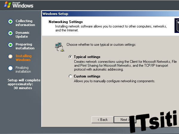 Windows Server 2003 Installation - Networking Settings