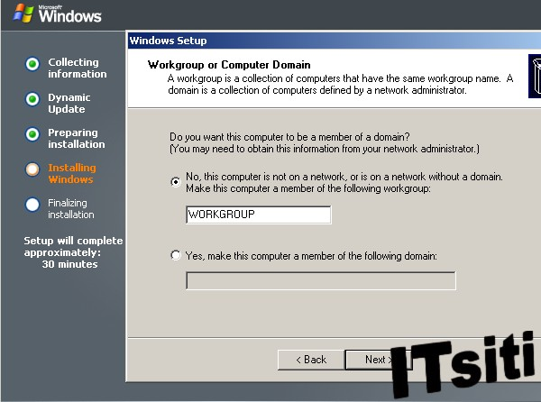 Windows Server 2003 Installation - Workgroup or Computer Domain