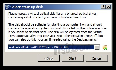 Android Installation - Select start-up disk
