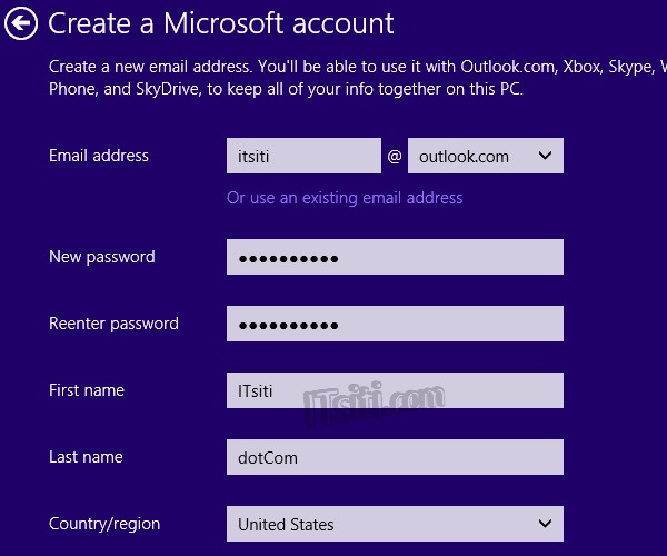 Windows 8 Add Account - Microsoft Account - Sign Up
