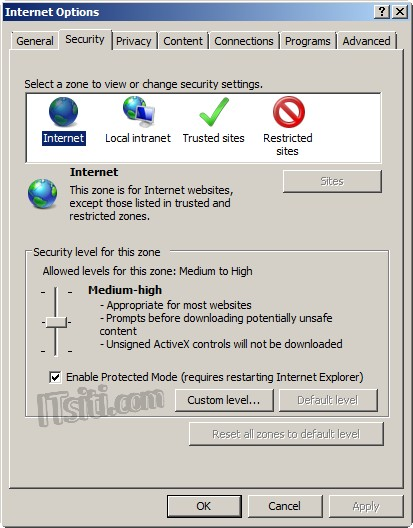 Enable or Disable Internet Explorer Protected Mode