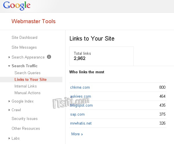Google Webmaster Tools - Links to Your Site