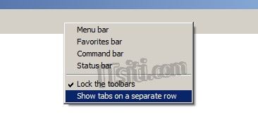 IE - Show tabs on a separate row