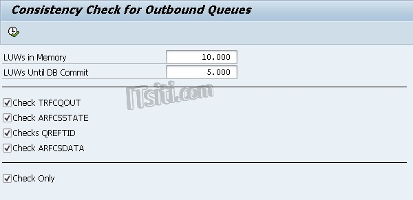RSTRFCEG - Consistency Check for Outbound Queues