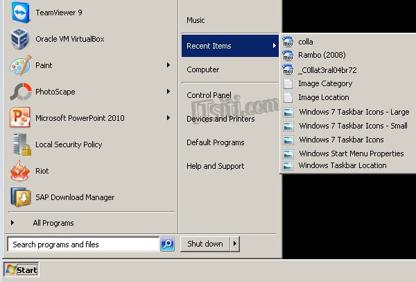 Windows 7 Recent Items