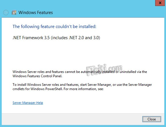 .NET Framework 3.5 feature couldn't be installed