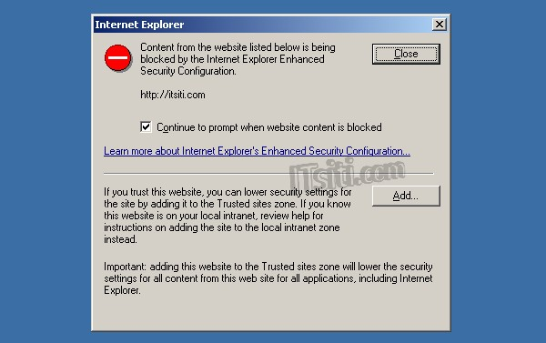 Content blocked by IE Enhanced Security Configuration