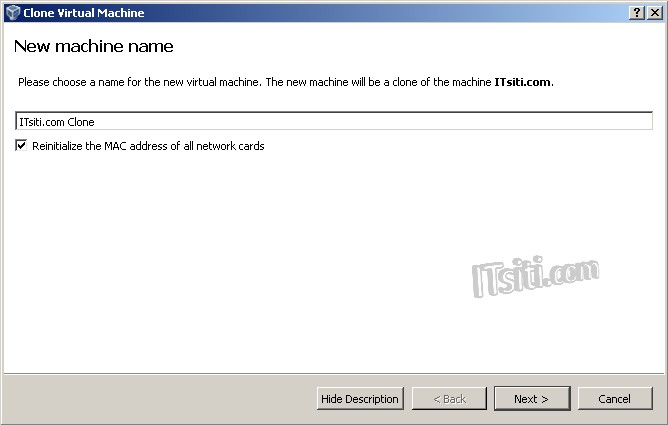 Virtual VM Clone - New VM Name