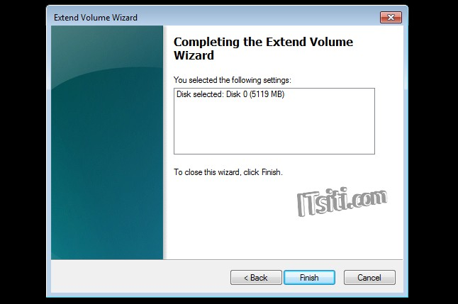 Extend Volume Wizard - Complete