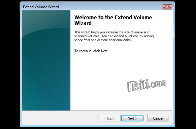 Extend Volume Wizard - Welcome
