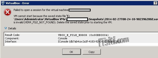 VirtualBox - VM cannot start because the saved state file