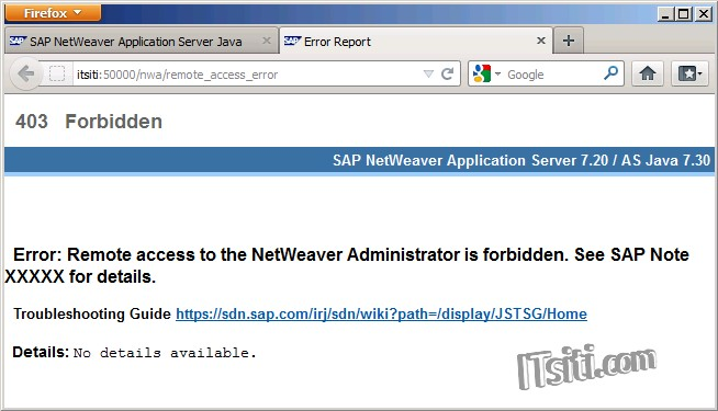 Error: Remote access to the NetWeaver Administrator is forbidden