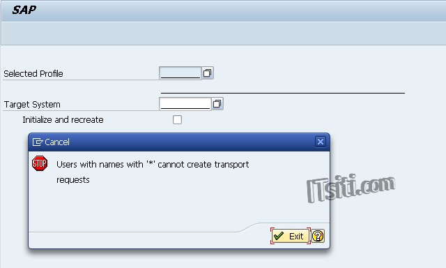 Users with names with sapstar cannot create transport requests