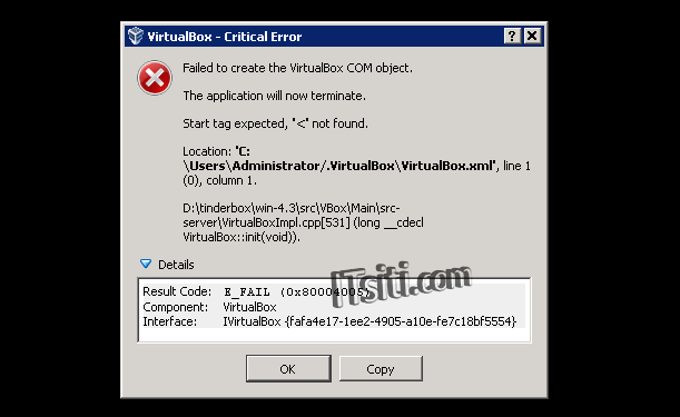 VirtualBox Start tag expected not found