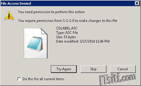 File Access Denied - require permission from S-1-1-0