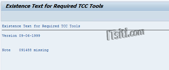 Existence Text for Required TCC Tools