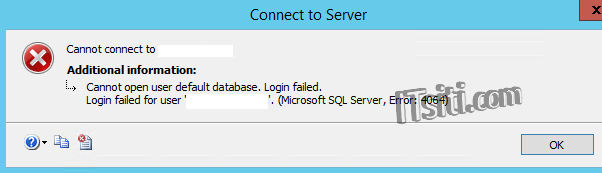 MSSQL - Cannot open user default database
