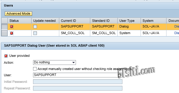 SOLMAN_SETUP - Maintain User