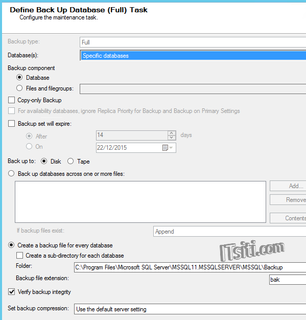 Define Back Up Database (Full) Task
