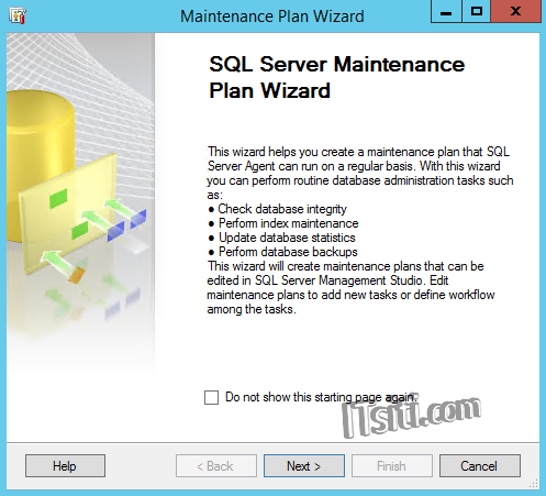 SQL Server Maintenance Plan Wizard Welcome