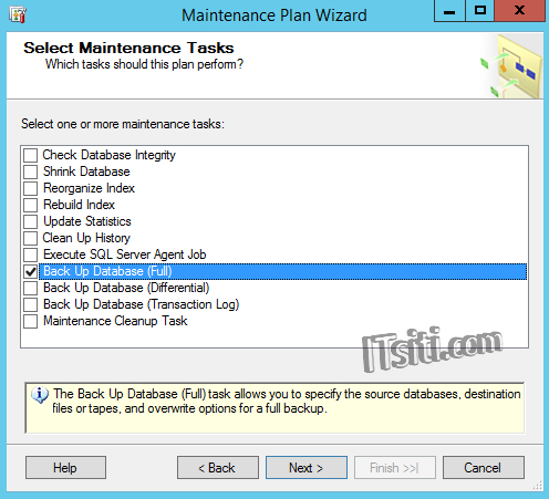Select Maintenance Tasks