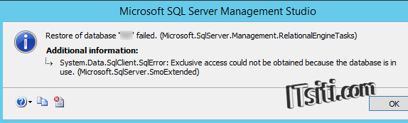 SQLServer - Restore of database failed