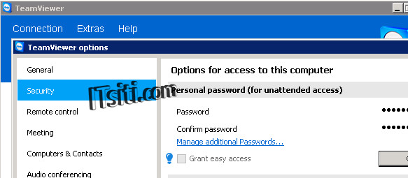 TeamViewer Options - Security Password