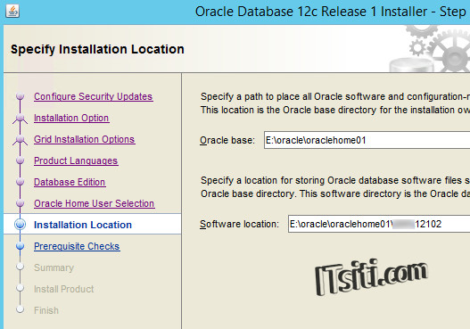 Oracle12c - Installation Location