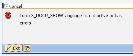 Form S_DOCU_SHOW language is not active or has error